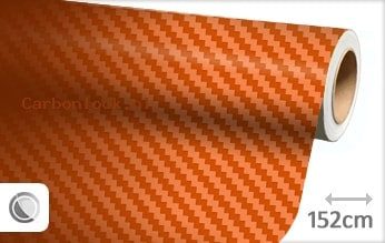 Oranje 3D carbon look folie